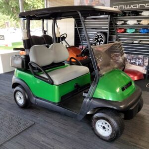 Custom Chromium Green Club Car Precedent 48V electric golf cart.