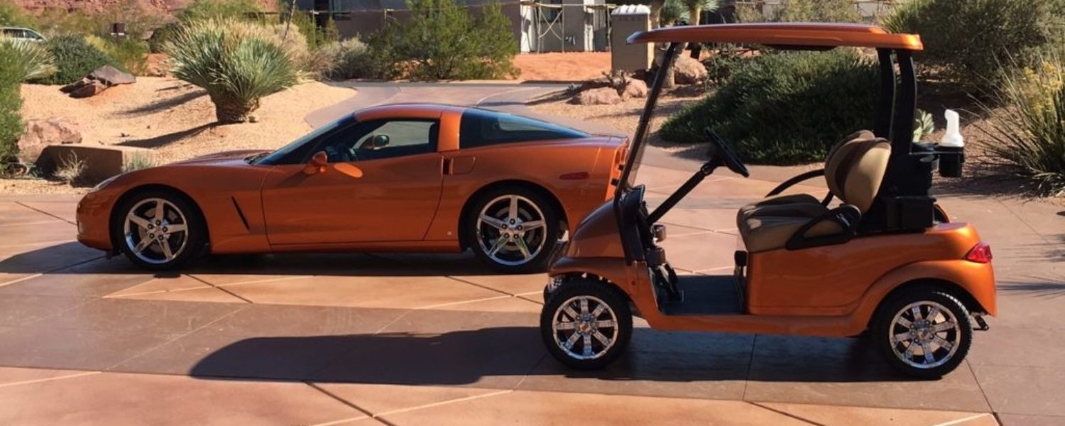 Corvette matches golf car