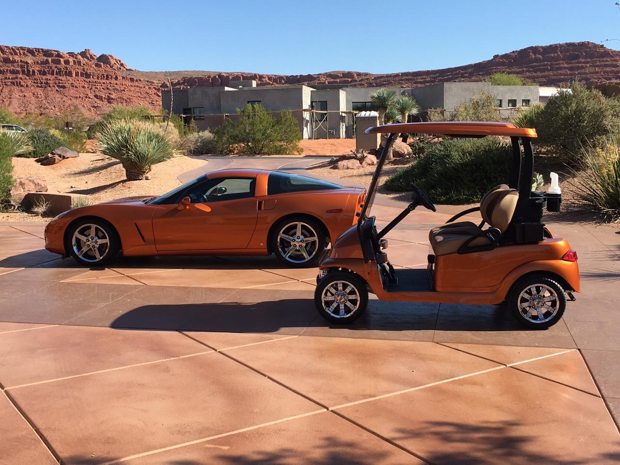 Corvette matches golf car