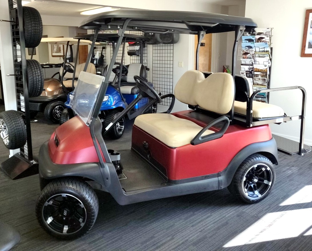 Refurbished 2015 Four-Passenger Custom Red Club Car Precedent 48V Electric Golf Cart
