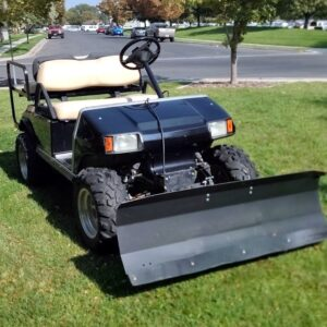 Classy Black 4-Passenger Club Car DS Gas Golf Cart w/ SnowBlade