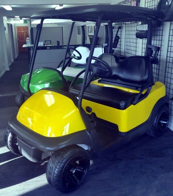 Gorgeous Refurbished Custom Canary Yellow Club Car Precedent Electric Golf Cart