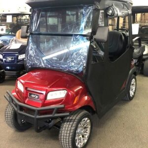 New 2021 Club Car Metallic Candy Apple Red ONWARD 4-Passenger Golf Cart w/ Lithium-ion Batteries and a Full Enclosure